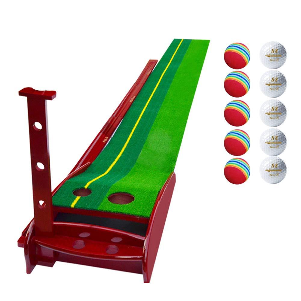 パッティングマット 11.5フィートゴルフウッドオートリターントレイナーマット、ボール、ポータブル屋内/屋外プロフェッショナルプラクティスミニゴルフトレーナーとリターントレイ付きパッティンググリーン (色 : Without putter)  Without putter B07L8Q6S4B
