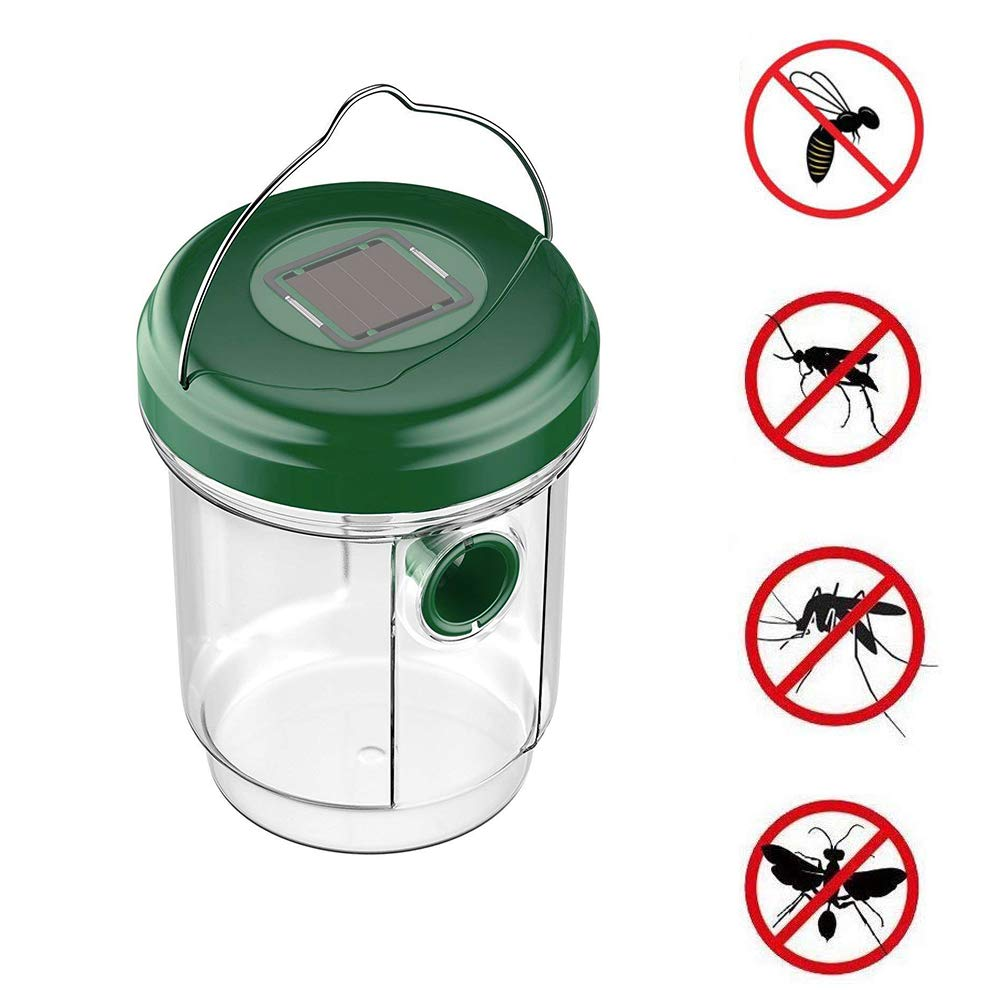YmissL Solar Wasp Trap Catcher, Outdoor Garden Wasp Repellent Fly Deterrent Auto Blue Lights Trapping Bees, Wasps, Hornets, Bugs Insect Control-Green