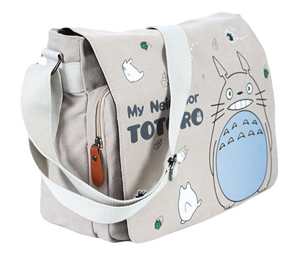 Gumstyle My Neighbor Totoro Vintage Canvas Satchel Shoulder Crossbody Messenger Bag for Students Anime Fans Cosplay by Gumstyle
