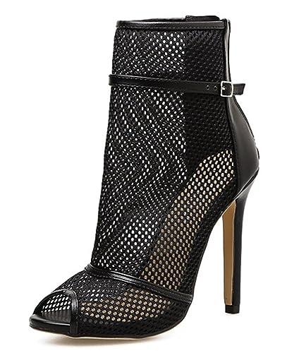 SHOWHOW Damen Sexy Mesh Peep Toe Sommerstiefel Damenschuhe Sandaletten  Schwarz 35 EU 705c466e24