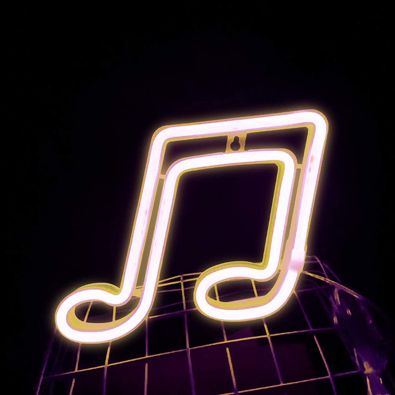 Music Note LED Neon Light Signs, Musical Note Shaped Neon Signs Wall USB/Battery Hanging Night Light for Bedroom Wall Decor, Kids Room, Restaurant, Party, Bar, Gift (Yellow-Music Note)