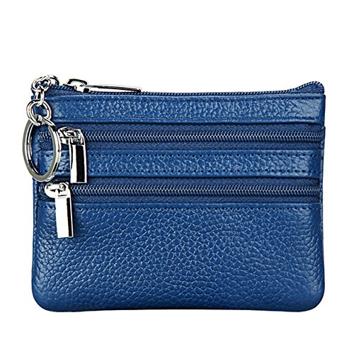 Women's Genuine Leather Coin Purse Mini Pouch Change Wallet with Key Ring,blue