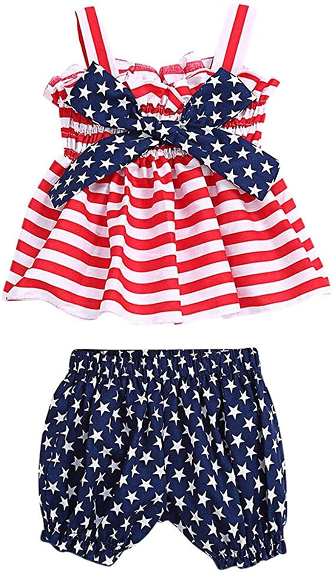 Toddler Baby Girls Ruffles O-Neck Sleeveless Tank Top with Bloomers Shorts 2Pcs Outfit Sets