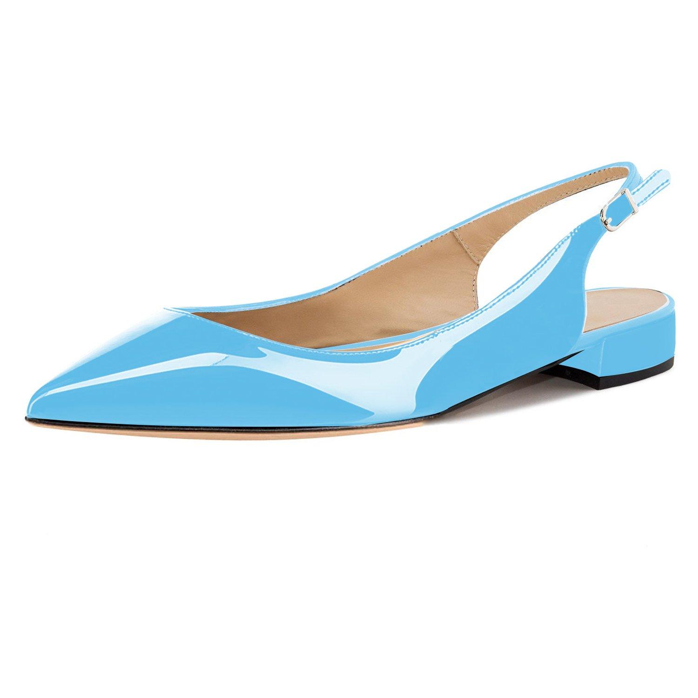 Eldof Women Low Heels Pumps | Pointed Toe Slingback Flat Pumps | 2cm Classic Elegante Court Shoes B07C85L6VZ 11.5 B(M) US|Patent Skyblue