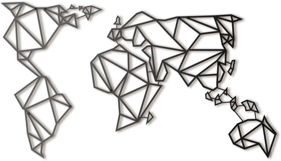 Hoagard Metal World Map - Decoración geométrica para Pared - Mapamundi - Metal - Negro - 60x100cm