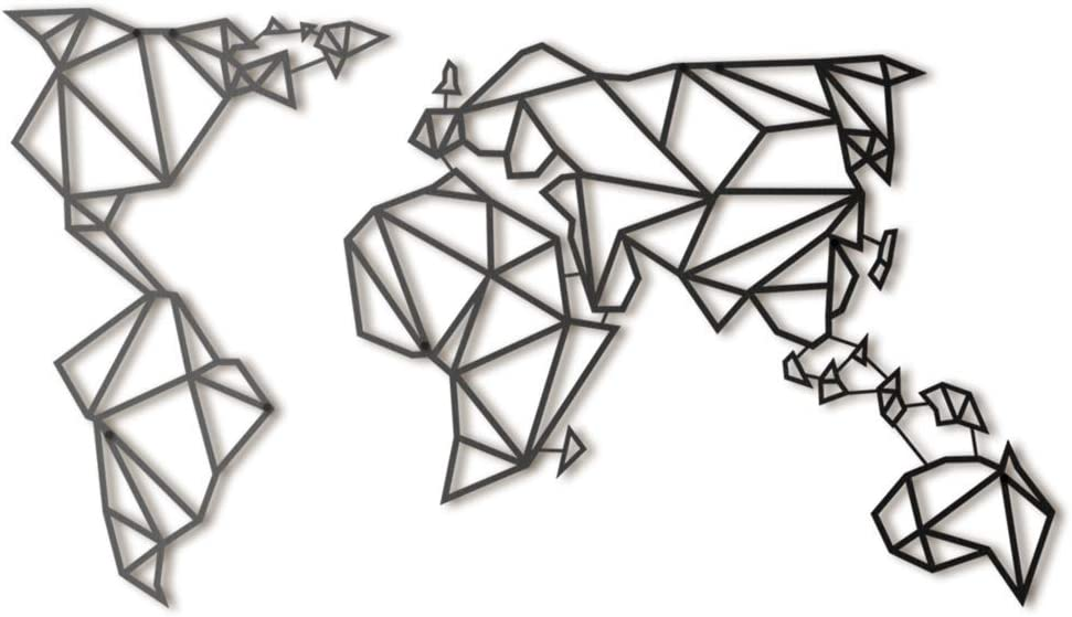 Hoagard Metal World Map Black - Mapamundi - Mapa del mundo de Hoagard Metal negro | Arte de pared de metal geometrico & Escultura de pared Arte Colgante de pared Decoracion 60cm x 100cm (Negro)