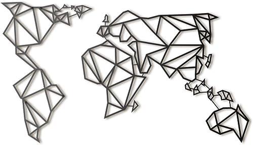 Hoagard Metal World Map Black   60cm x 100cm   Geometric Metal Wall Art Wall Decoration