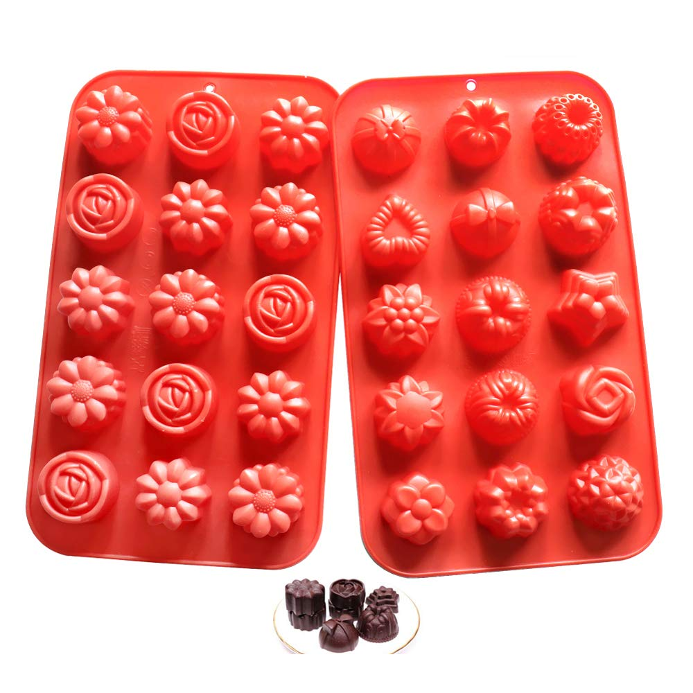 Silicone Molds Candy Molds Flower Soap Mold Chocolate Molds Jello Molds Biscuit Cake Baking Mold Ice cube Tray Muffin Pan, 15 Cavity set of 2 pack