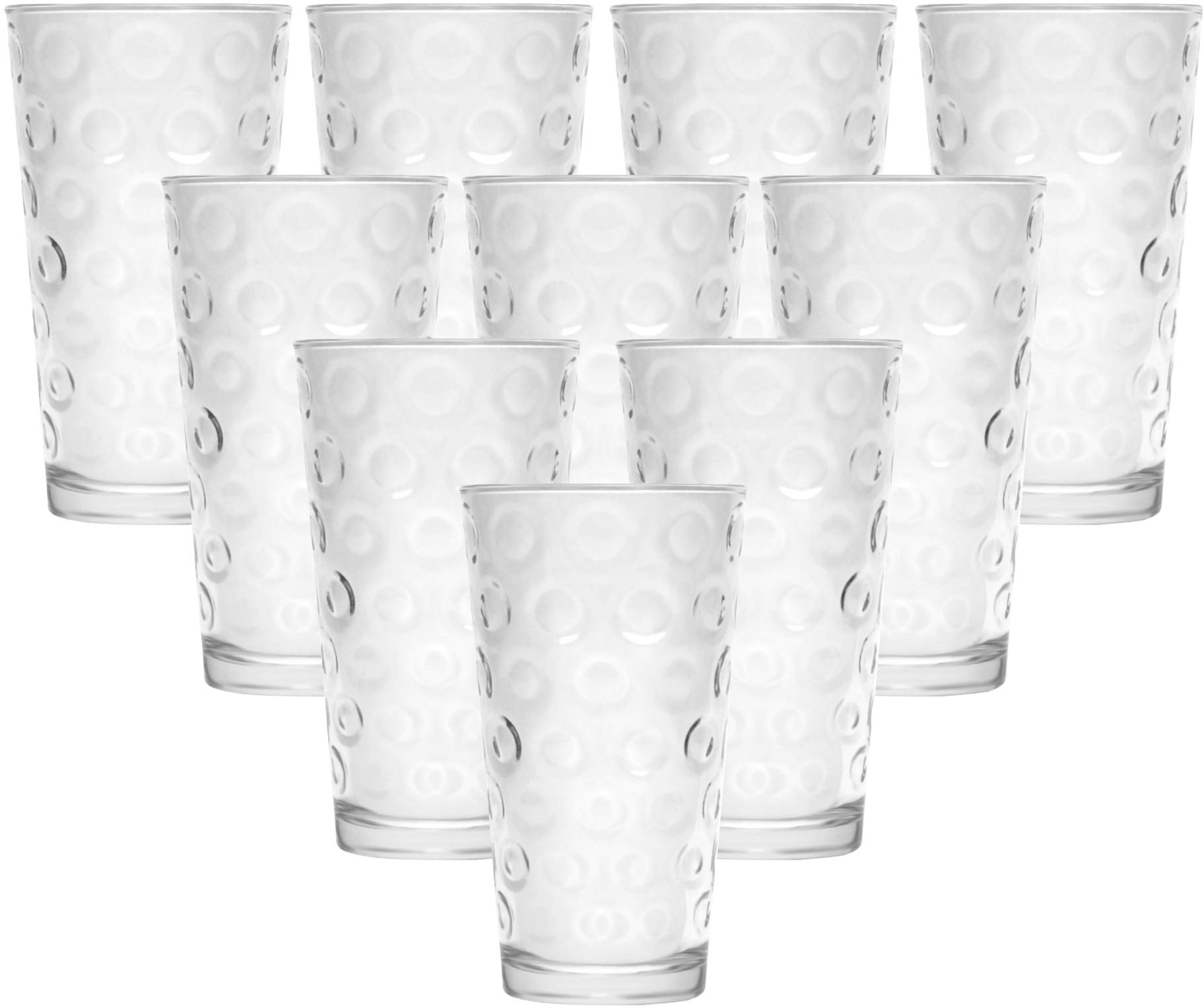 Circleware Circles Huge Set of 10 Tall Heavy Base Highball Drinking Glasses, 17 oz, Lead-Free Glass Tumbler Drink Cups for Water, Beer, All Beverage