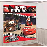 "AmscanDisney Cars Formula Racer Birthday Party Scene Setters Wall Decorating Kit (5 Pack), 59"" x 65"", Bright Red"