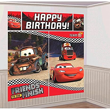 Amscan Disney Cars Formula Racer Birthday Party Scene Setters Wall Decorating Kit 5 Pack