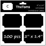 "ThxToms 100Pcs Chalkboard Labels, High-class Waterproof and Rewritable Stickers for Jars, Folders Classification, 2"" x 1.4"", C"