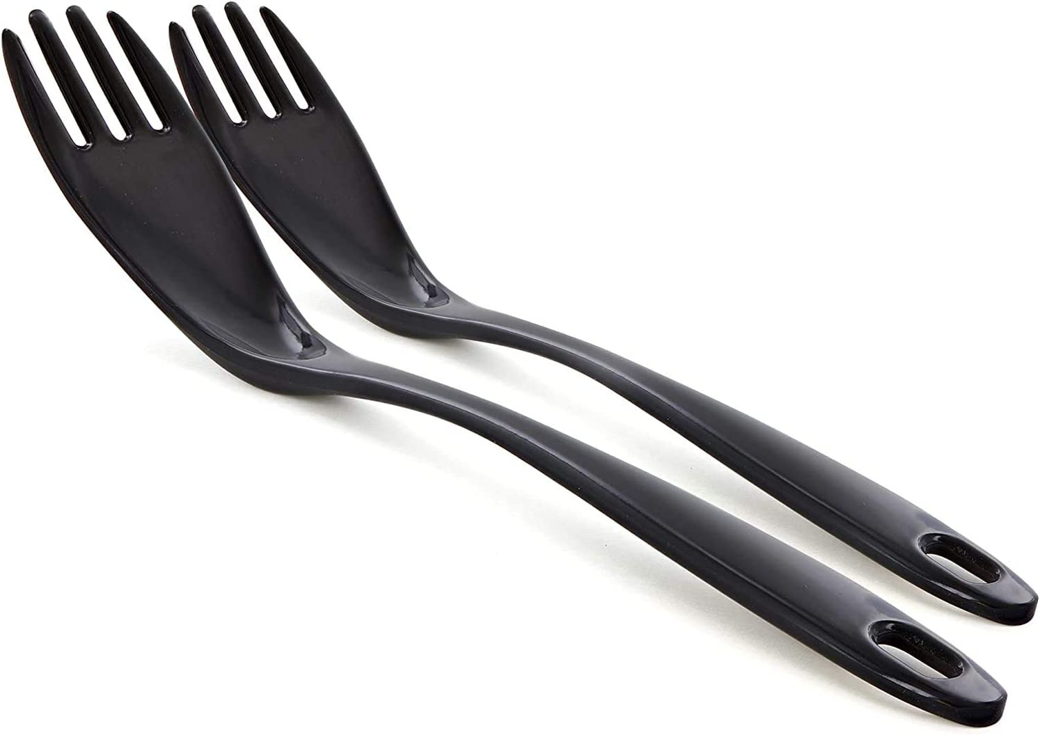 Ram-Pro Melamine Utensil Black Fork Heavy Duty Kitchen Dinner Cutlery Cake Pastry Salad Flatware Table Forks for Home Kitchen or Restaurant Pack of 2