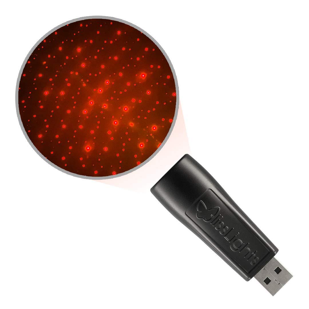 BlissLights Starport USB Laser Star Projector for Game Room Decor, Bedroom Night Light, or Mood Lighting Ambiance (Red)