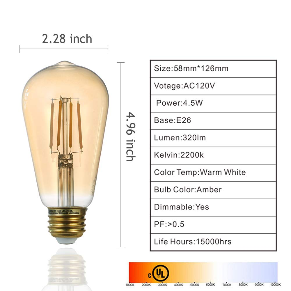12 Pack LED Edison Light Bulb Vintage ST19 4.5W Equivalent to 35W Dimmable Amber Glass Warm White 2200K by Comyan (Image #2)