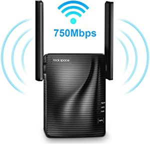rockspace 750Mbps WiFi Range Extender (RSD0607)-WiFi Extender Supports Dual-Band with Ethernet Port and WPS Button (Black)