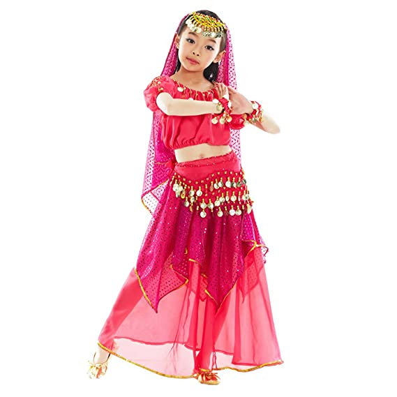 2a04e6ad1f87 Amazon.com: KINDOYO 5 Pcs Girls Belly Dance Costumes Egypt Indian Dancing  Outfits: Clothing