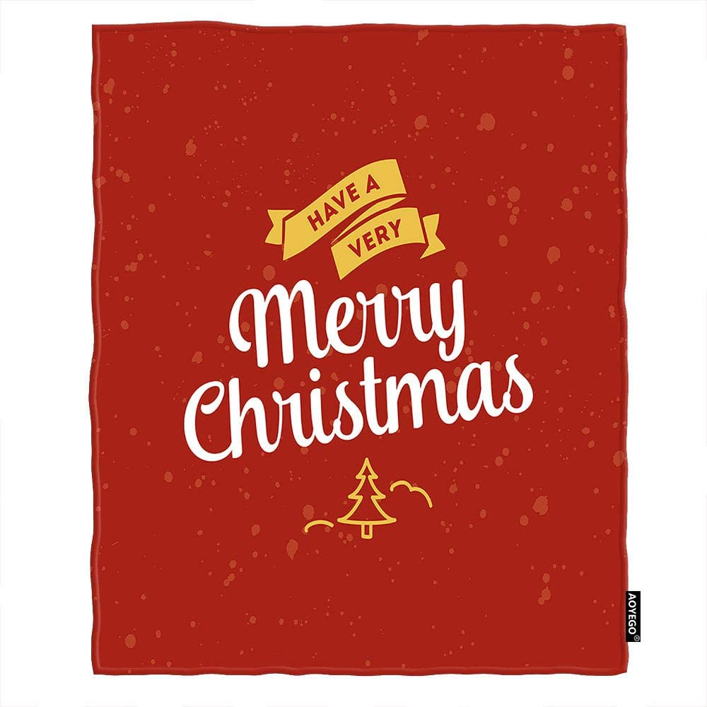 Amazon Com Aoyego Merry Christmas Blankets Wish Word Mistletoe Tree Red Graffiti Polka Dot Throw Blanket 50x60 Inch Soft Flannel Plush Blanket For Couch Bed Boys Girls Home Kitchen