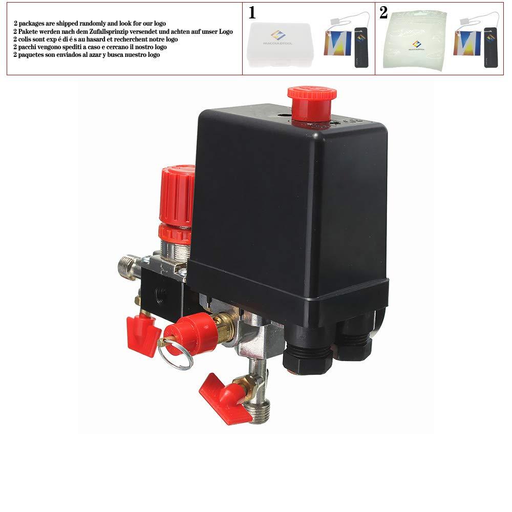 Air Compressor Pressure Valve Switch Manifold Relief Regulator Gauges 0-180PSI 240V 45/×75/×80mm Popular Valves