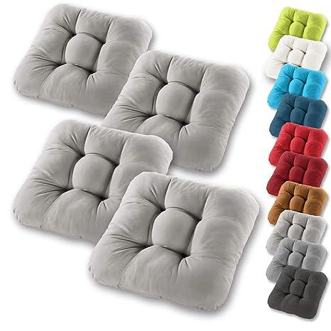 Gräfenstayn® Set de 4 Cojines de Asiento cojín de Silla 40x40x8cm para Interior y Exterior - Funda de algodón 100% - Modelo 2019 - Muchos Colores - ...