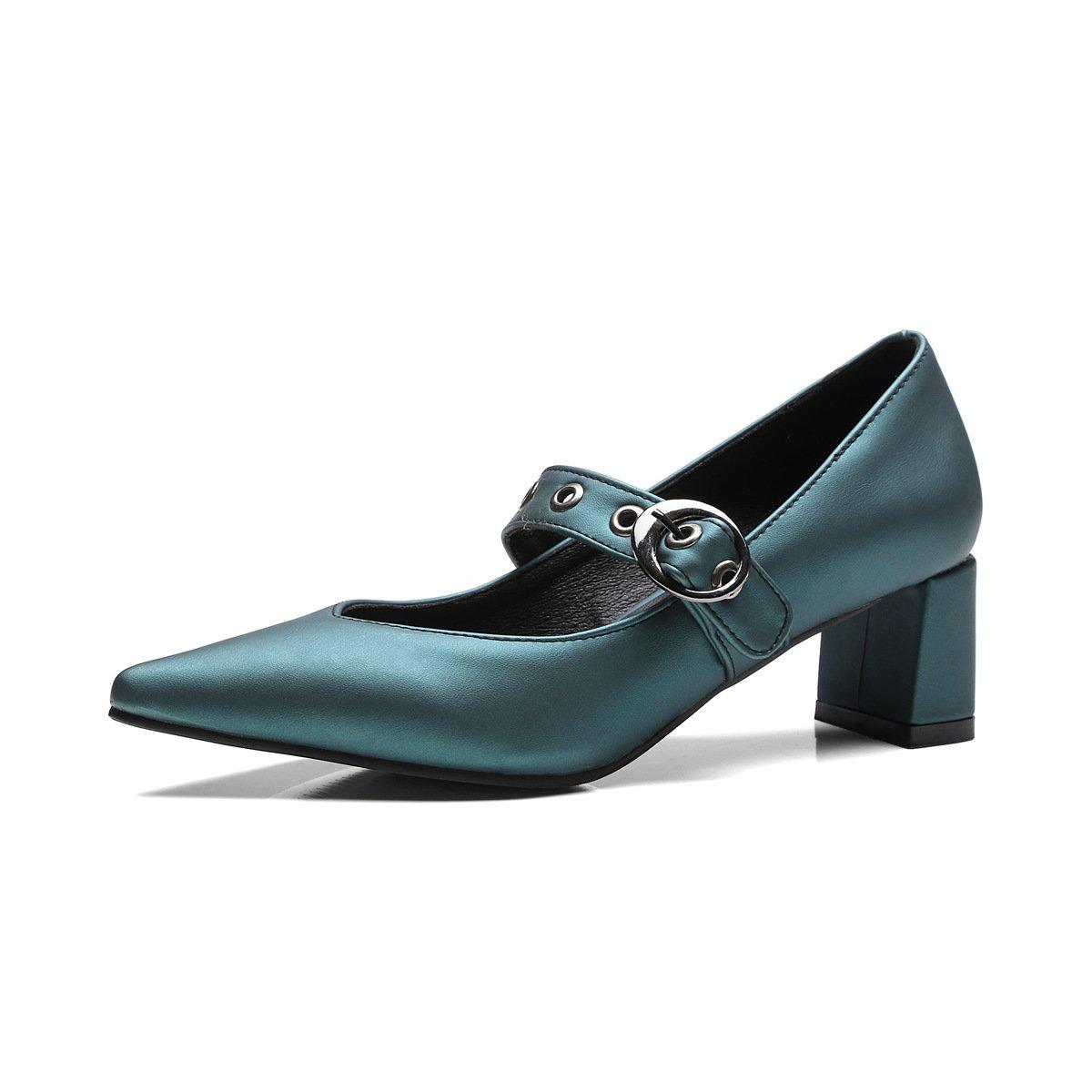 QINX Frauen Spitze Zehe Blockabsatz Schuhe40 EU|Green