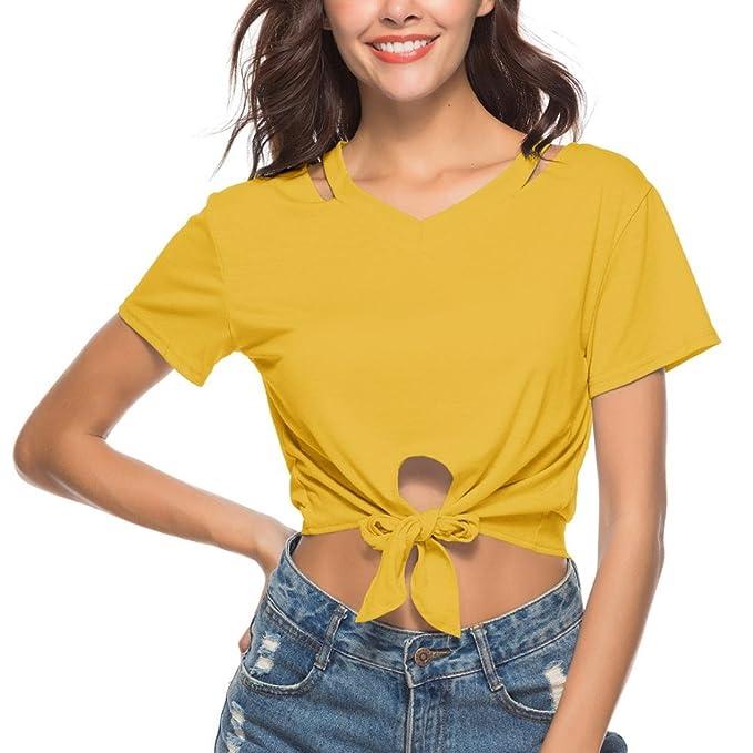 Lenfesh Blusa Sexy Mujer Camisas de Manga Corta Color Sólido Blusas Tops de Manga Corta para Mujer Crop Tops Cuello en V Sexy Casual: Amazon.es: Ropa y ...