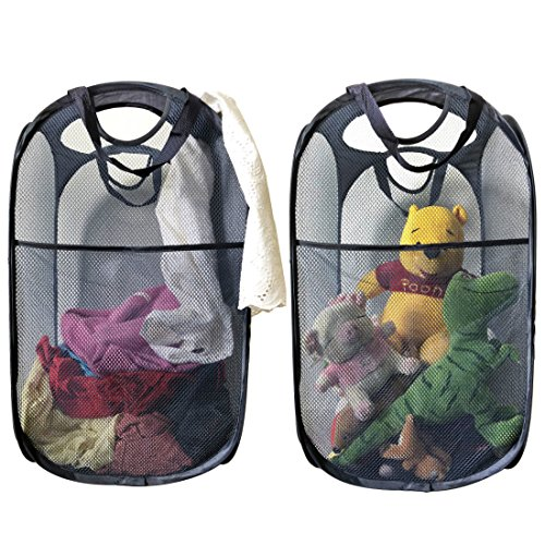 (MDcharm 2 Pop Up Mesh Laundry Hampers - Collapsible Laundry Basket, Dirty Clothes Hamper with Handles, Plush Toy Organizer)