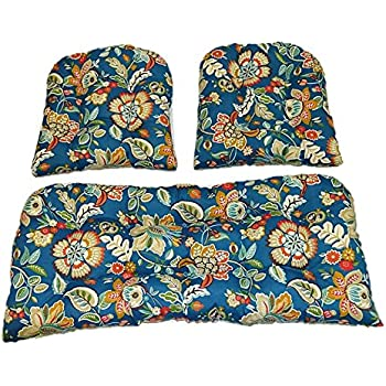 Amazon Com 3 Piece Wicker Cushion Set Peacock Blue