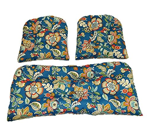 - Resort Spa Home Decor 3 Piece Wicker Cushion Set - Telfair Peacock Blue, Green, Brown, Rust, Ivory Floral Scroll Indoor/Outdoor Fabric Cushion for Wicker Loveseat Settee & 2 Matching Chair Cushions
