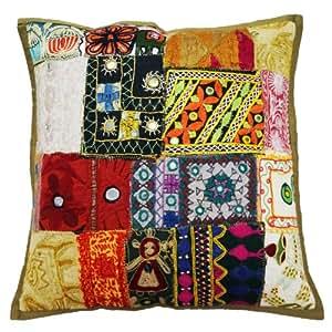Cojín decorativo Tapa Multicolor Patchwork Kutch bordado Funda de almohada Indian Art 18 pulgadas