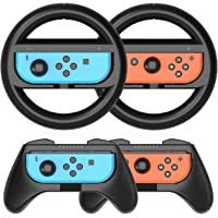 MAKINGTEC Grip Kit Grip Compatible with Nintendo Switch Controller Racing Switch Steering Wheel - 4 Pack, Comfort Handle…
