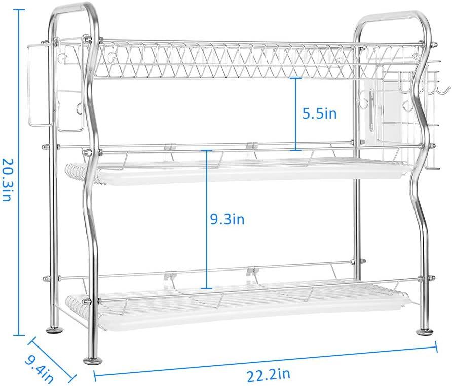 Nandae /Égouttoir /à Vaisselle /à 3 Niveaux avec comptoir de s/échage en Acier Inoxydable 56,4 x 23,9 x 51,5 cm