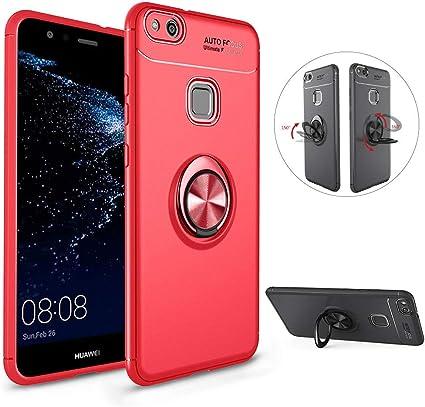 LCHDA Coque Huawei P10 Lite Anneau Doigt de Maintien Bague Support Bequille Souple Silicone Anti-Choc Magnétique Arriere Moto Voiture Etui Housse ...
