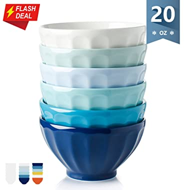 Sweese 1119 Porcelain Fluted Latte Bowl Set - 20 Ounce Stable and Deep - Microwavable Bowls for Cereal, Soup - Set of 6, Cold Assorted Colors