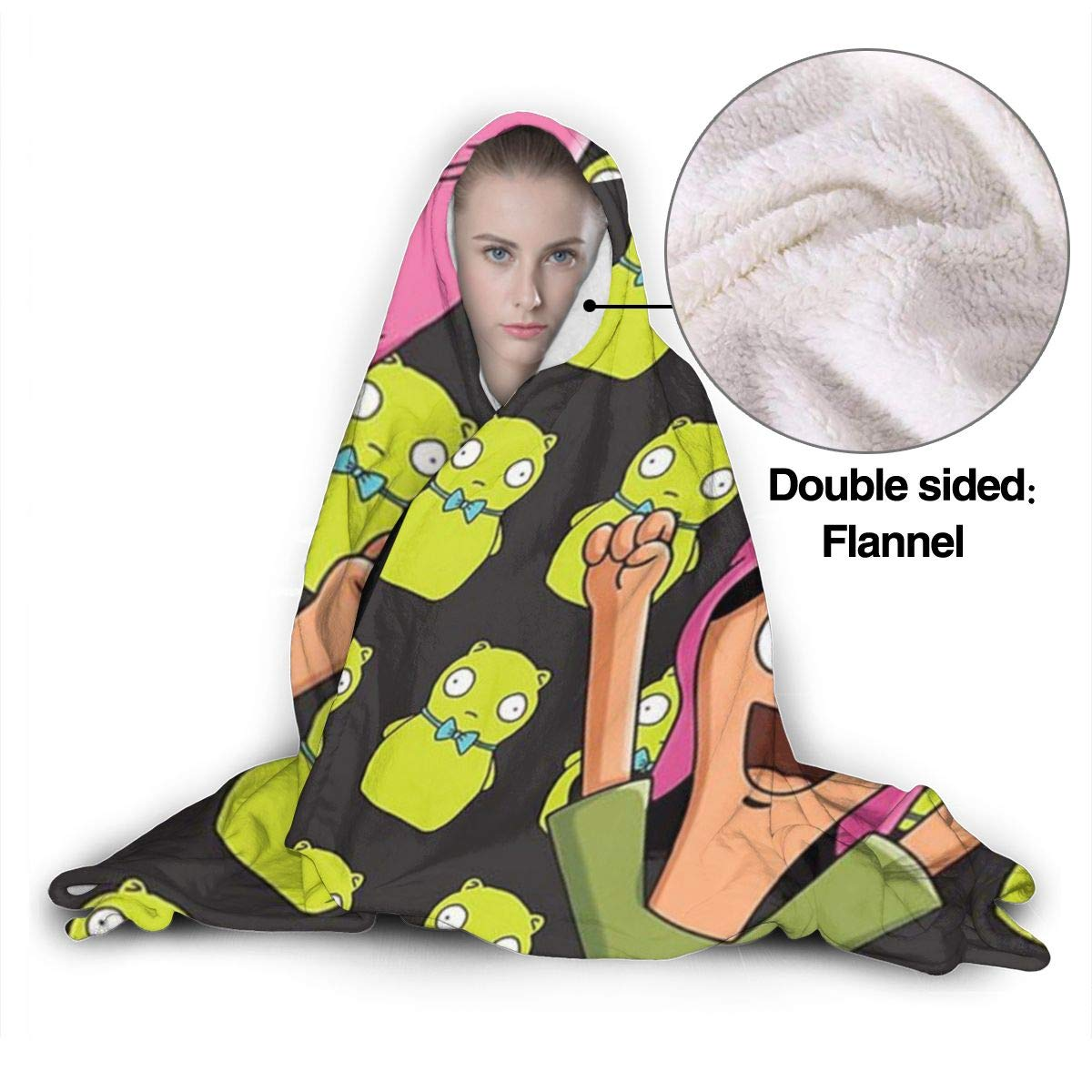 Louise-Burgers Soft Fleece Hooded Blanket Throw Wearable Cuddle Robe Fuzzy Lightweight Pullover Adults Kids