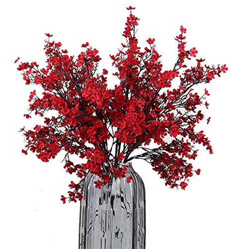 Centerpiece Fall Flower - JAKY Global Babys Breath Fabric Cloth Artificial Flowers 6 Bundle European Fake Silk Plants Decor Wedding Party Decoration Bouquets Real Touch DIY Home Garden(Red)