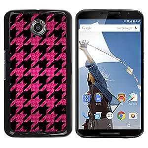 iKiki Tech / Estuche rígido - Leaf Pink Pattern Quilted Fashion - Motorola NEXUS 6 / X / Moto X Pro