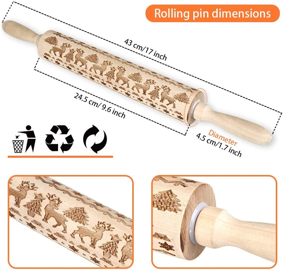 Christmas Wooden Rolling Pins Engraved 3D Embossing Rolling Pin Natural Wood Carved Rolling Pin Wooden Roller with Christmas Deer DIY Kitchen Tool for Homemade Baking Embossed Cookies