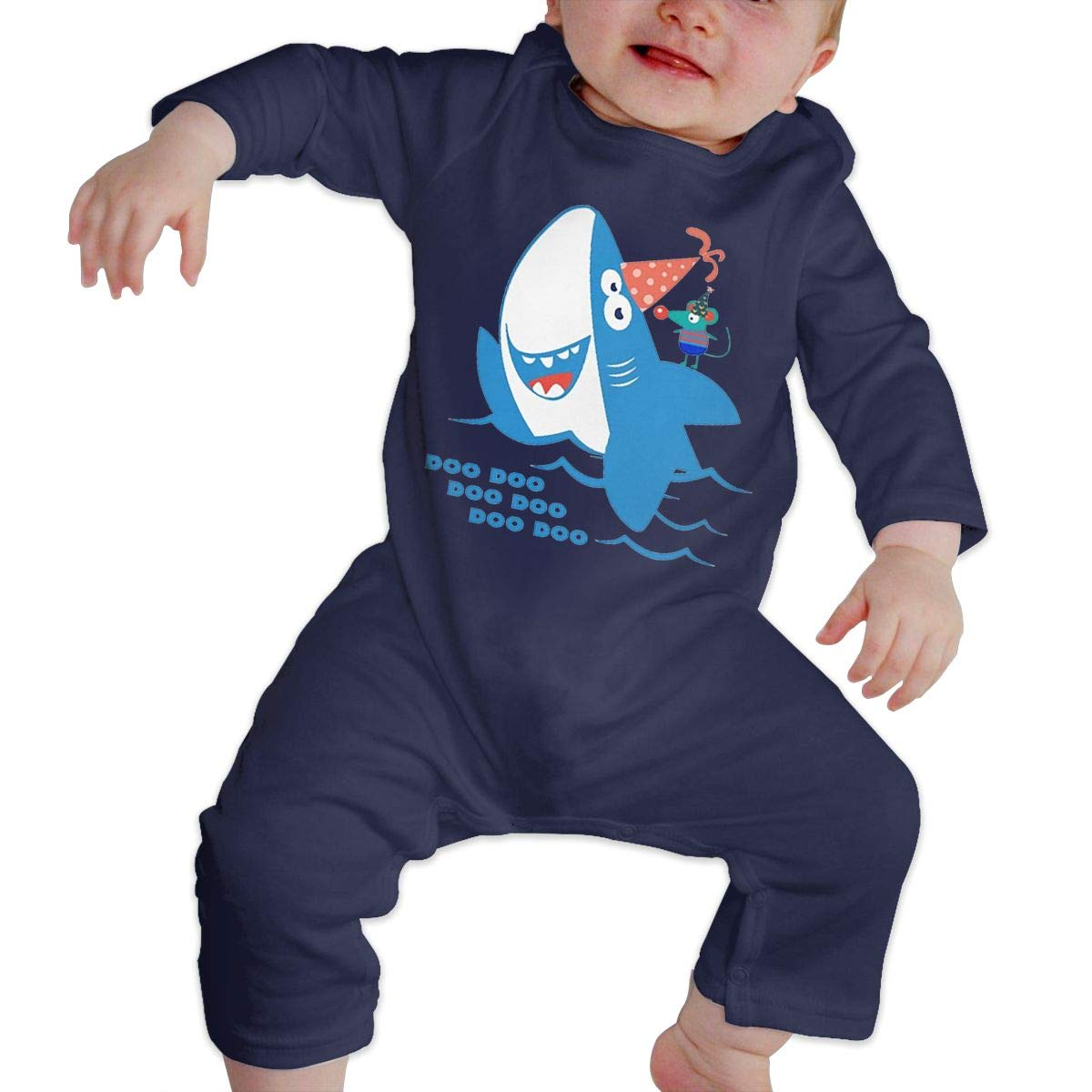Baby Boy Girl Round Neck Long Sleeve Solid Color Onesie Baby Shark Birthday Jumpsuits Sleepwear
