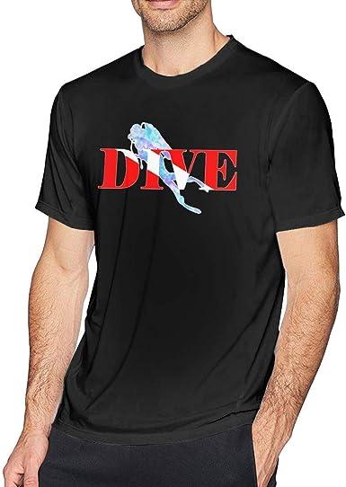 Scuba Diver Dive Down Flag Dive Camiseta de Manga Corta con Cuello Redondo para Hombre, Camisa Casual para Hombres: Amazon.es: Ropa y accesorios