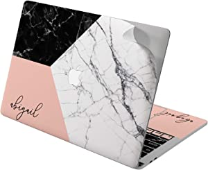 "Cavka Vinyl Decal Skin for Apple MacBook Pro 13"" 2019 15"" 2018 Air 13"" 2020 Retina 2015 Mac 11"" Mac 12"" Laptop Geometry Monogram Marble Design Print Art Protective Pink Cover Nature Corners Sticker"