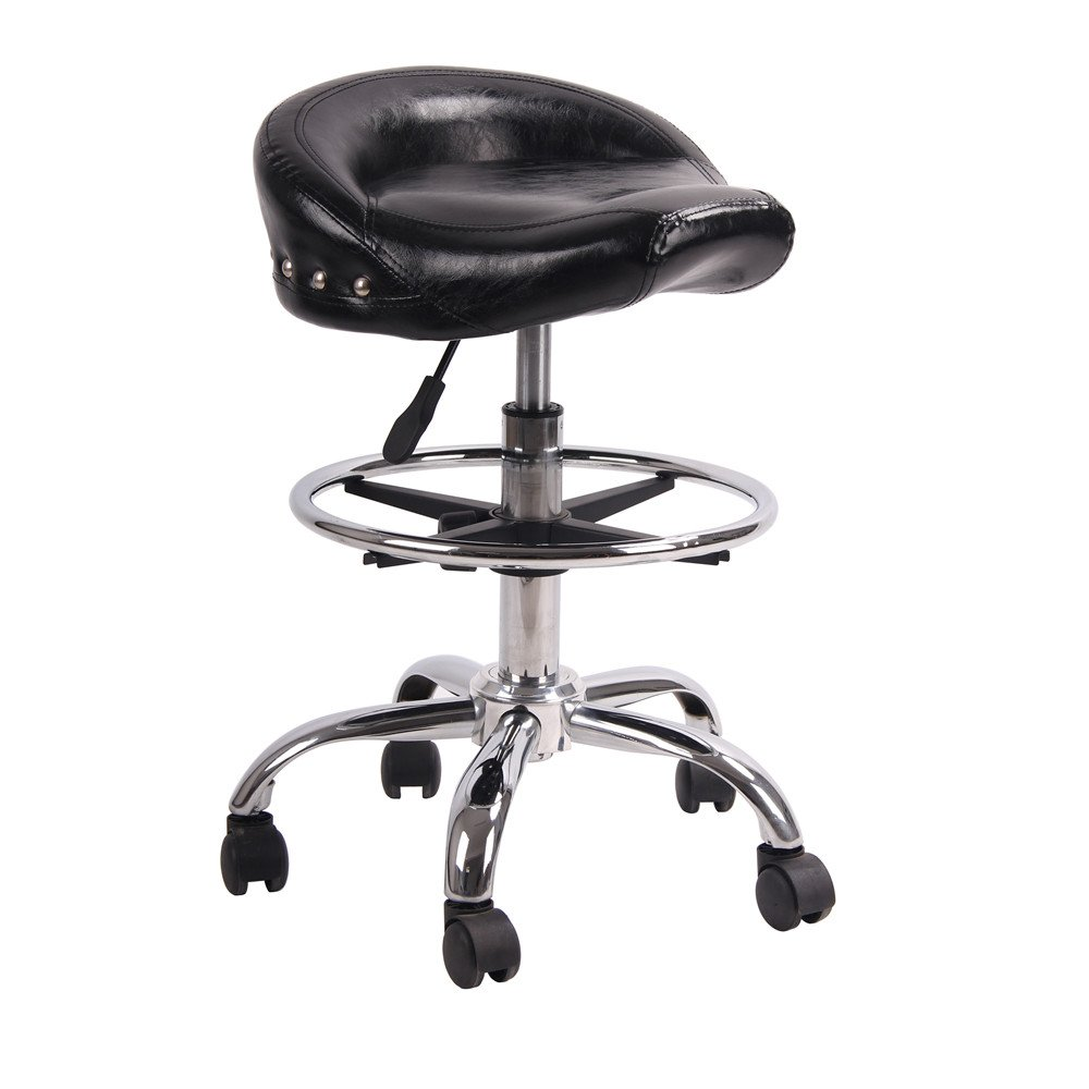 Adjustable Rolling Swivel Stool Hydraulic Saddle Medical Chair with Steel Chrome Frame for Salon Tattoo Spa Massage (Shiny Black)