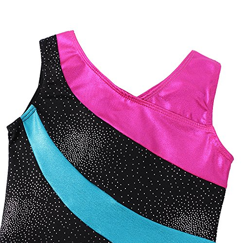 DAXIANG One-Piece Colorful Ribbons Gymnastics Leotard Sleeveless Dance Unitards for Little Girl (140(8-9Y), Black) by DAXIANG (Image #3)
