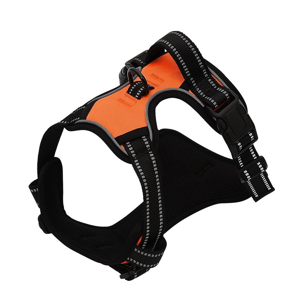 orange L orange L Dog Harness No Pull Pet Harness 3M Reflective Adjustable Outdoor Pet Vest Harness with Handle for Small Medium Large Dogs Training (L, orange)