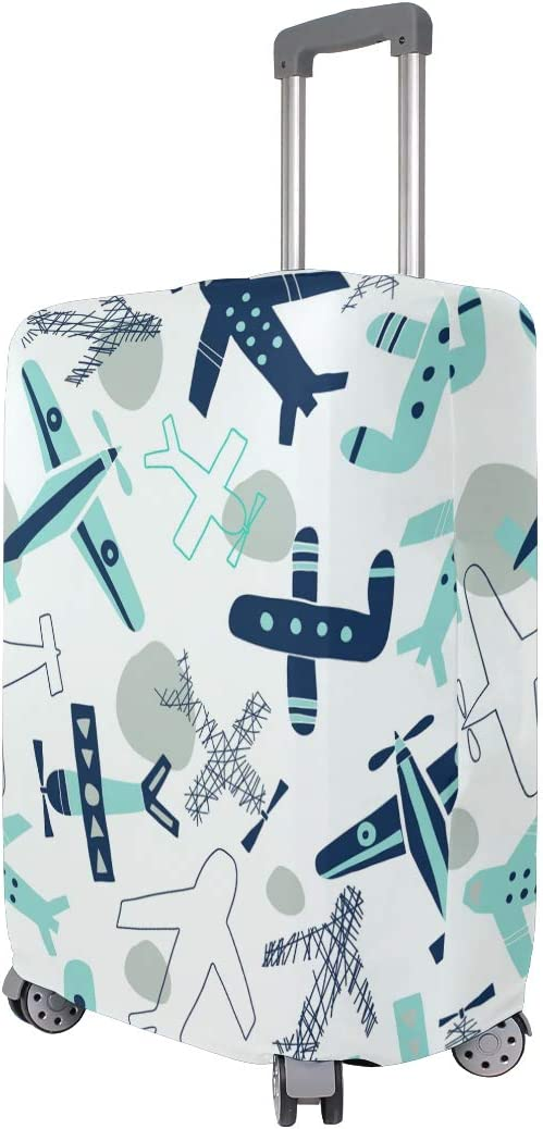 Baggage Covers Blue Grey Various Planes Pattern Washable Protective Case