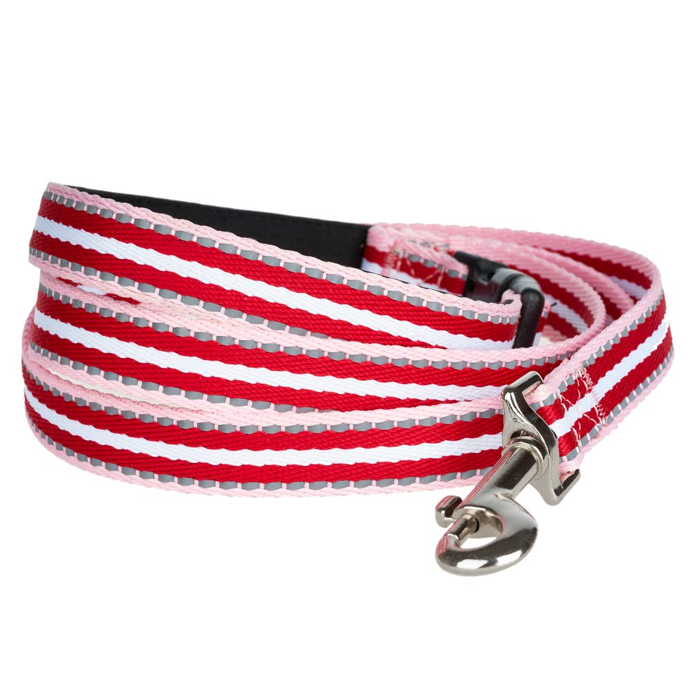 Red(4.6ft) YUDOTE Reflective Multi-colord Dog Leash, with Soft and Comfort Handle, Hands Free Leashes for Small & Medium Dogs & Puppies, 56  Long