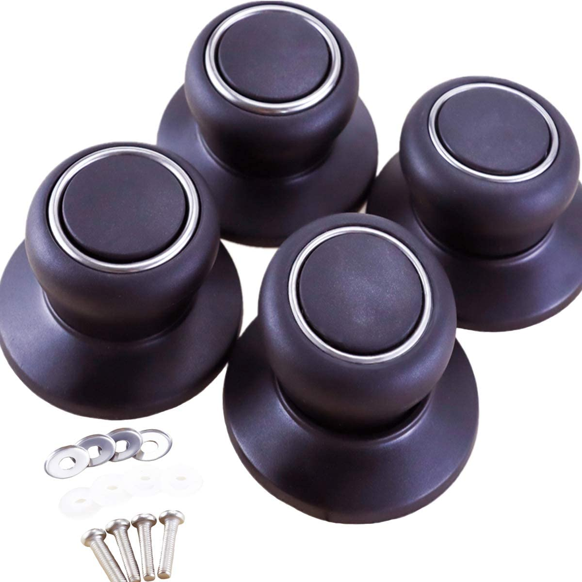 YG_Oline 4 Pack Lid Knob, Universal Black Cookware Replacement Knob Pot Knob Pot Lid