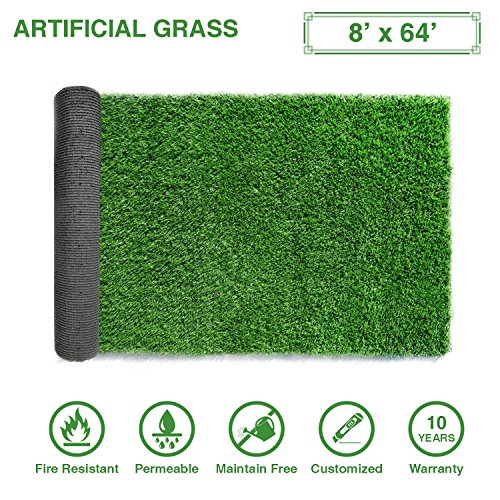 512 Square - LITA Premium Artificial Grass 8' x 64' (512 Square Feet) Realistic Fake Grass Deluxe Turf Synthetic Turf Thick Lawn Pet Turf -Perfect indoor/outdoor Landscape - Customized