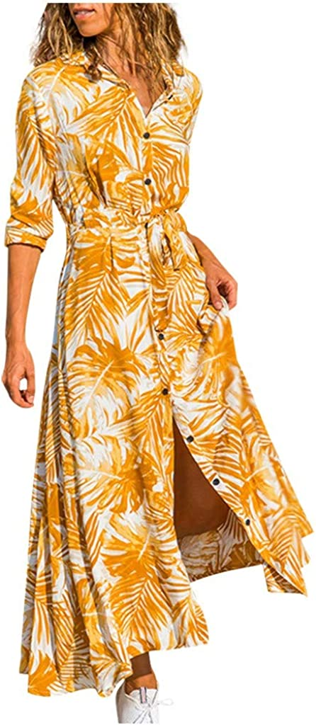 Sanyyanlsy Fashion Women Long Sleeve Maple Leaves Print Button Bandage Waist Casual Loose Mini Dress