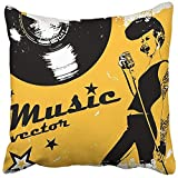 Throw Pillow Cover 18''X18'' Decorative Polyester Orange Rock Singing Woman On The of Retro Style Sing Vintage Music Concert Girl Radio Pillowcase Print Two Sides Deco Home